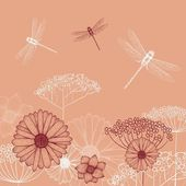 Flower background sketch with dragonfly — Stock Vector