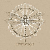 Dragonfly sketch. Invitation card — Stock Vector