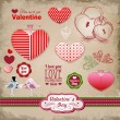 Valentine's day labels, icons elements collection, decoration — Stock Vector