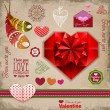 Valentine's day labels, icons elements collection, decoration — Stok Vektör