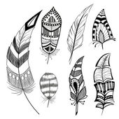 Set of decorative feathers — Stock Vector