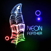 Neon feather — Stock Vector