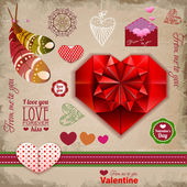 Valentine's day labels, icons elements collection, decoration — Vettoriale Stock
