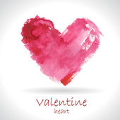 Watercolor painted pink heart — Vettoriale Stock