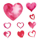 Set of Watercolor painted pink heart — Vector de stock