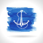 Anchor on watercolor background — Stock Vector