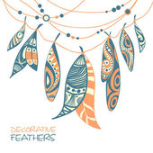 Decorative ornamental ethnic feathers — Stock Vector