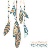Decorative ornamental ethnic feathers — Stock Vector