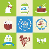 Vector set of easter  decorative elements and labels — Stock Vector