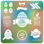 Vector set of easter  decorative elements and labels. Flat desig — Stock Vector