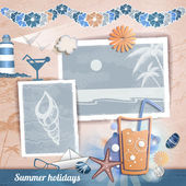 Summer scrapbooking photo album — Stock Vector