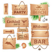 Set of wooden signboards. Summer — Stock Vector