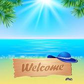 Summerl seaside view poster. Vector background. — Stockvektor