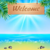 Summerl seaside view poster. Vector background. — Stock Vector