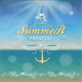 Seaside view poster. Vector summer  background. — Stock Vector