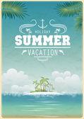 Vintage seaside view poster — Stock Vector