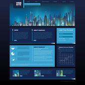 Design del sito web. città di notte — Vettoriale Stock