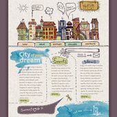 Website design template. City — Vetor de Stock