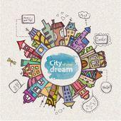 Decorative sketch of city — Stock Vector