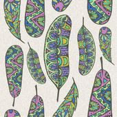 Seamless pattern of decorative feathers — Vecteur