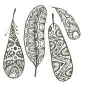 Set of sketch decorative feathers — Wektor stockowy