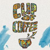Decorative sketch of cup of coffee or tea — ストックベクタ