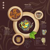Web site design. Decorative cup of coffee — ストックベクタ