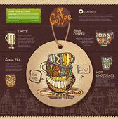 Web site design. Decorative cup of coffee — Vector de stock