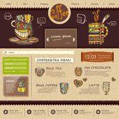 Web site design template. Decorative cup of coffee — Stock Vector