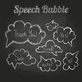 Chalk drawings. Set of speech  bubble. Cloud — 图库矢量图片