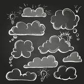 Chalk drawings. Set of speech  bubble. Cloud — Stock Vector