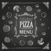 Chalk drawings. Pizza — Stock Vector
