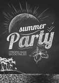 Summer party poster. Disco background. Chalk drawings. — Stock Vector