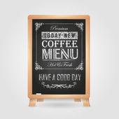 Chalk drawings. Retro typography. Coffee — Stock Vector