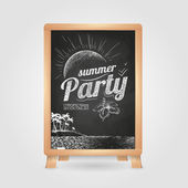 Summer party poster. Disco background. Chalk drawings. Chalk board — Stock Vector