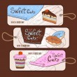 Set of decorative banners. Sweet cake sketch background. Menu — Stock Vector