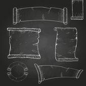 Chalk drawing. Set of ribbons. — Stockvektor
