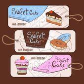 Set van decoratieve banners. zoete taart schets achtergrond. menu — Stockvector