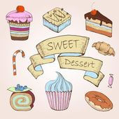 Satz von kuchen. dekorative skizze — Stockvektor