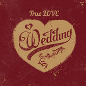 Vintage love heart. Wedding decoration — Vecteur