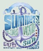 Suluboya poster. tipografi arka plan — Stok Vektör