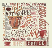 Watercolor coffee poster. Typography  background — Vettoriale Stock