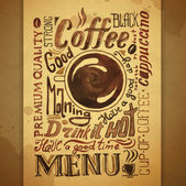 Vintage coffee typography background — Stock Vector