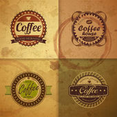 Collection of vintage Coffee Design labels — Stock Vector