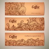 Set of decorative vintage coffee banners — Stock Vector
