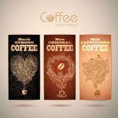Set of vintage decorative coffee labels — Vector de stock