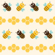 Seamless pattern with bees - Stock Vector