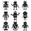 Robot silhouettes set — Stock Vector