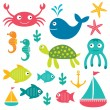 Sea life elements - Stock Vector
