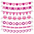 Bunting and garland pink set - Stock Vector